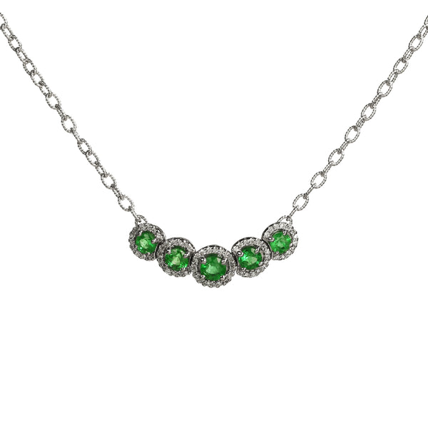 Emerald and Diamond Halo Necklace, 14K White Gold