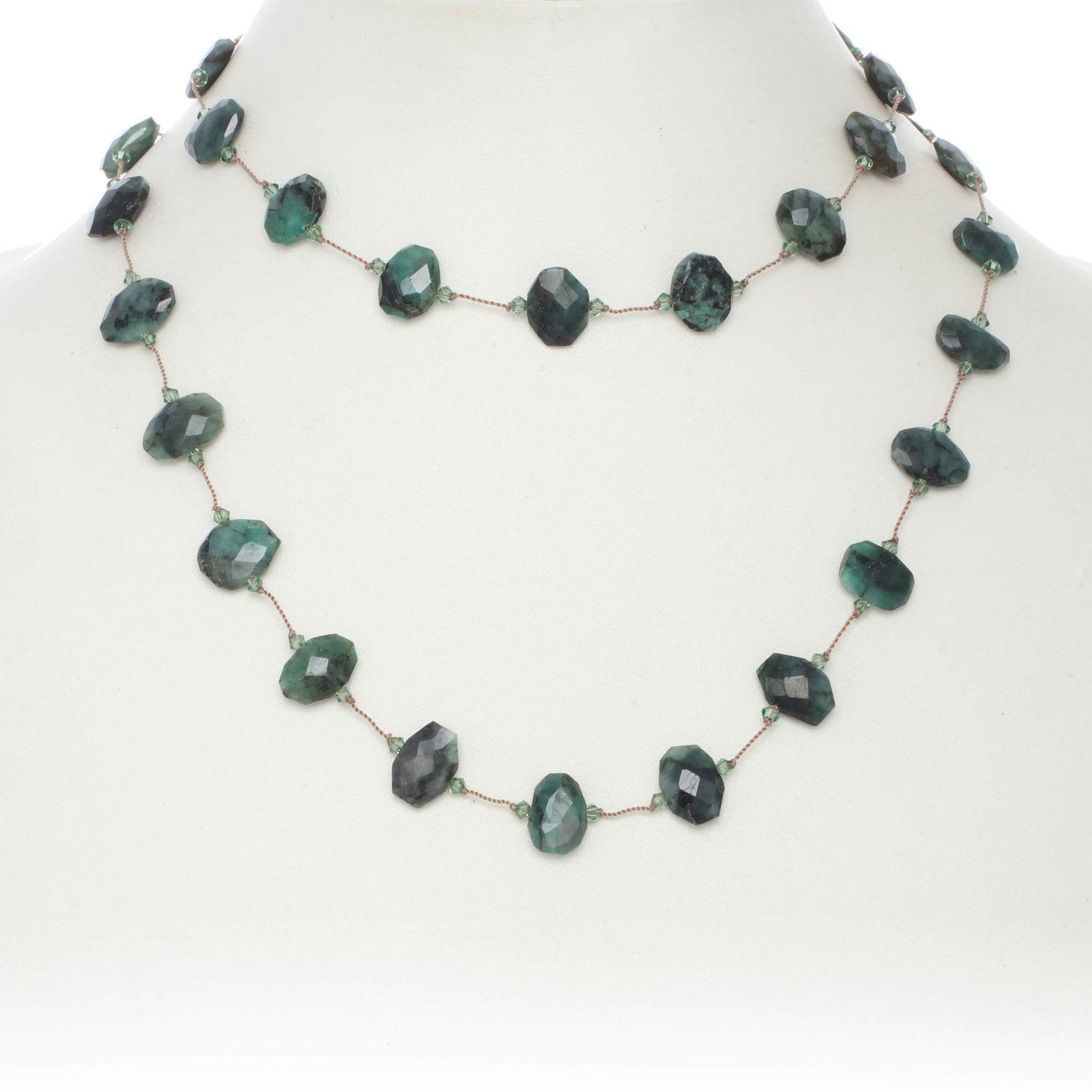 Faceted Raw Emerald Necklace, 35 Inches, Sterling Silver