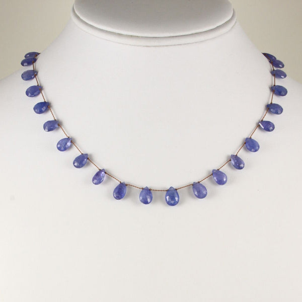 Faceted Tanzanite Drop Necklace, 17 Inches, Sterling Silver