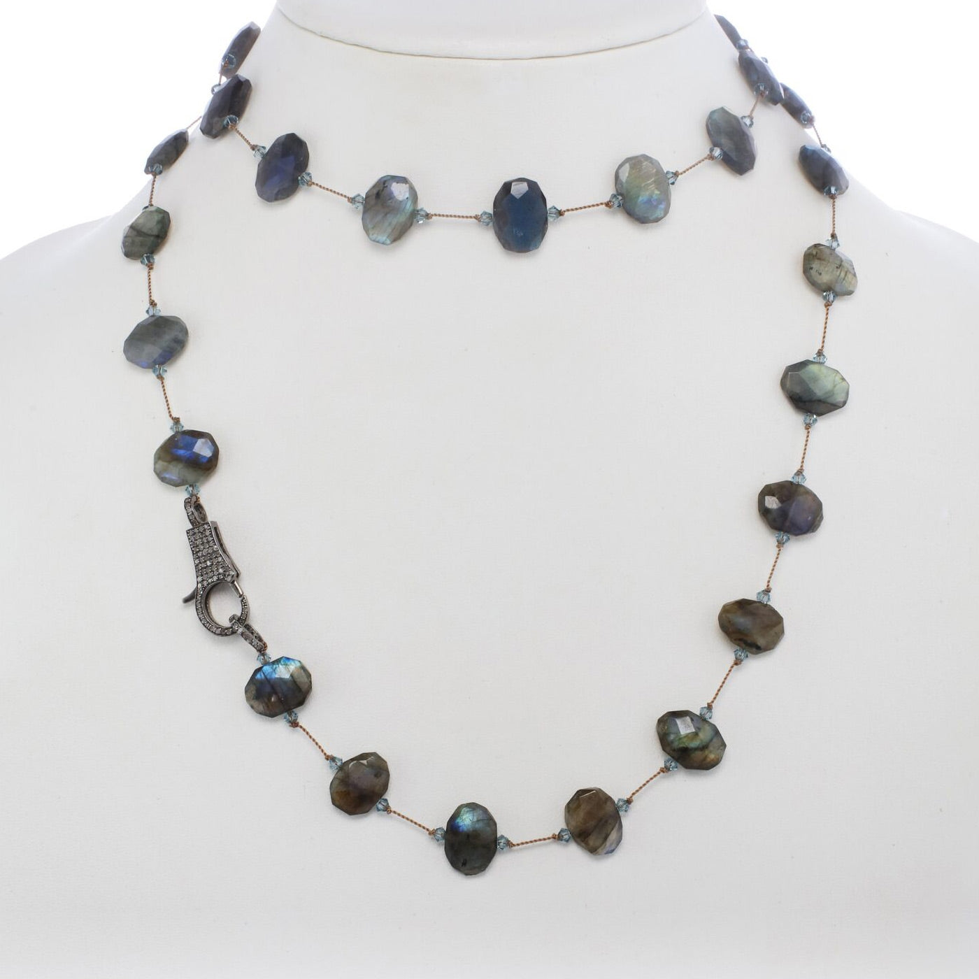 Faceted Flat Labradorite Necklace, 35 Inches, Sterling Silver