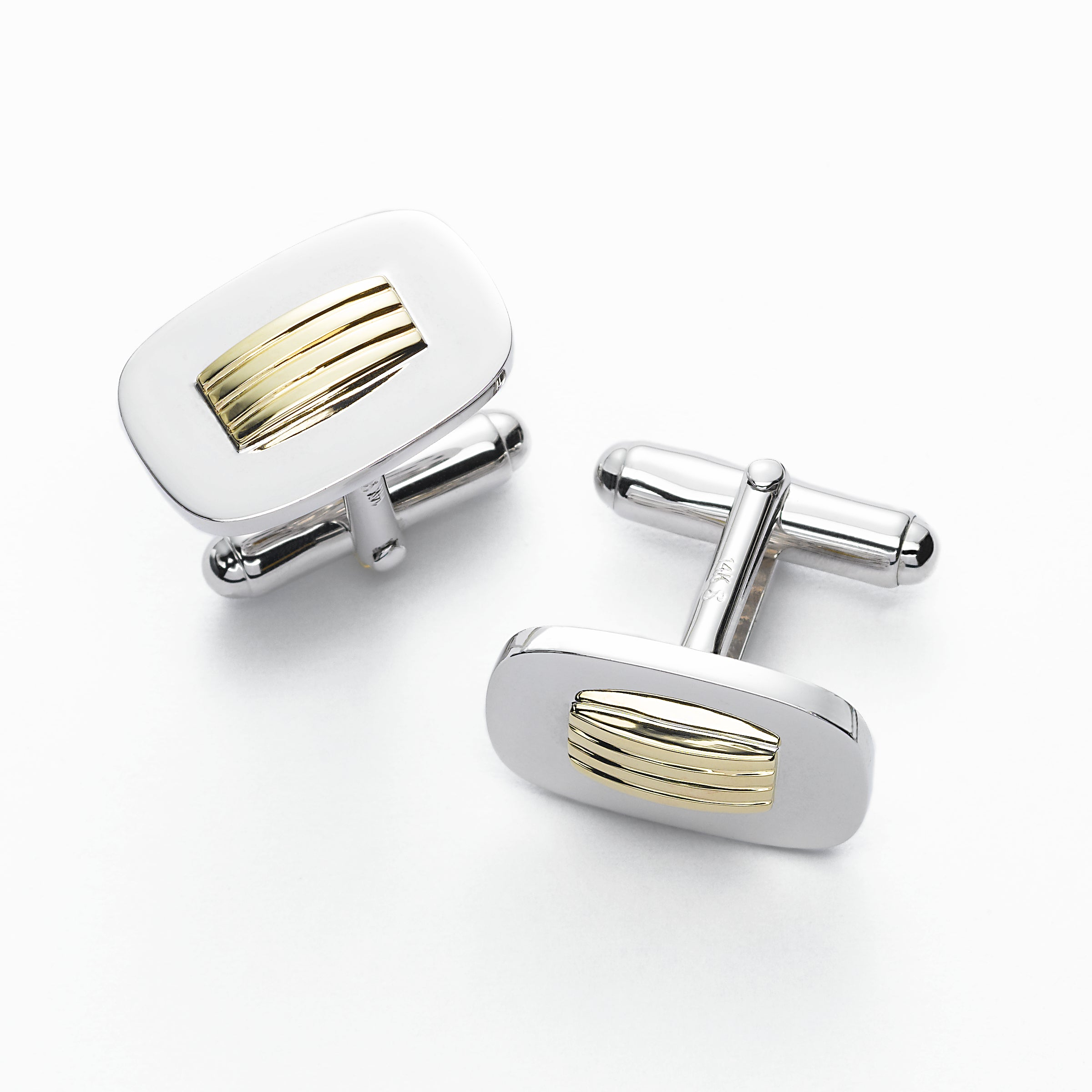 Sterling Silver Cufflinks with 14K Yellow Gold