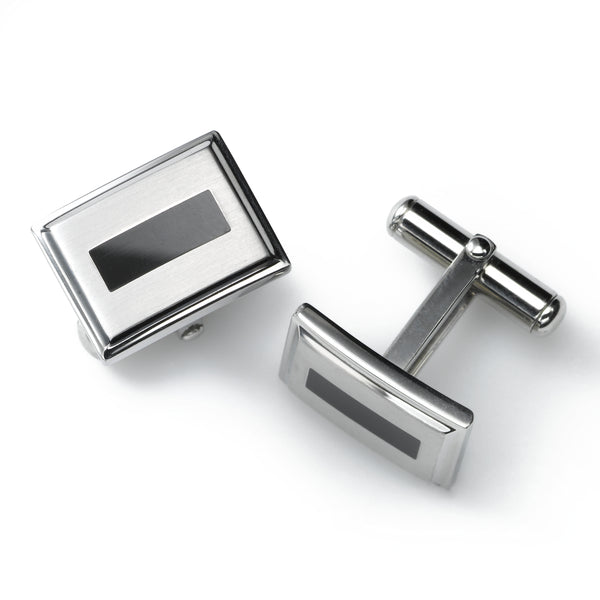 Black Enamel Cuff Links, Stainless Steel