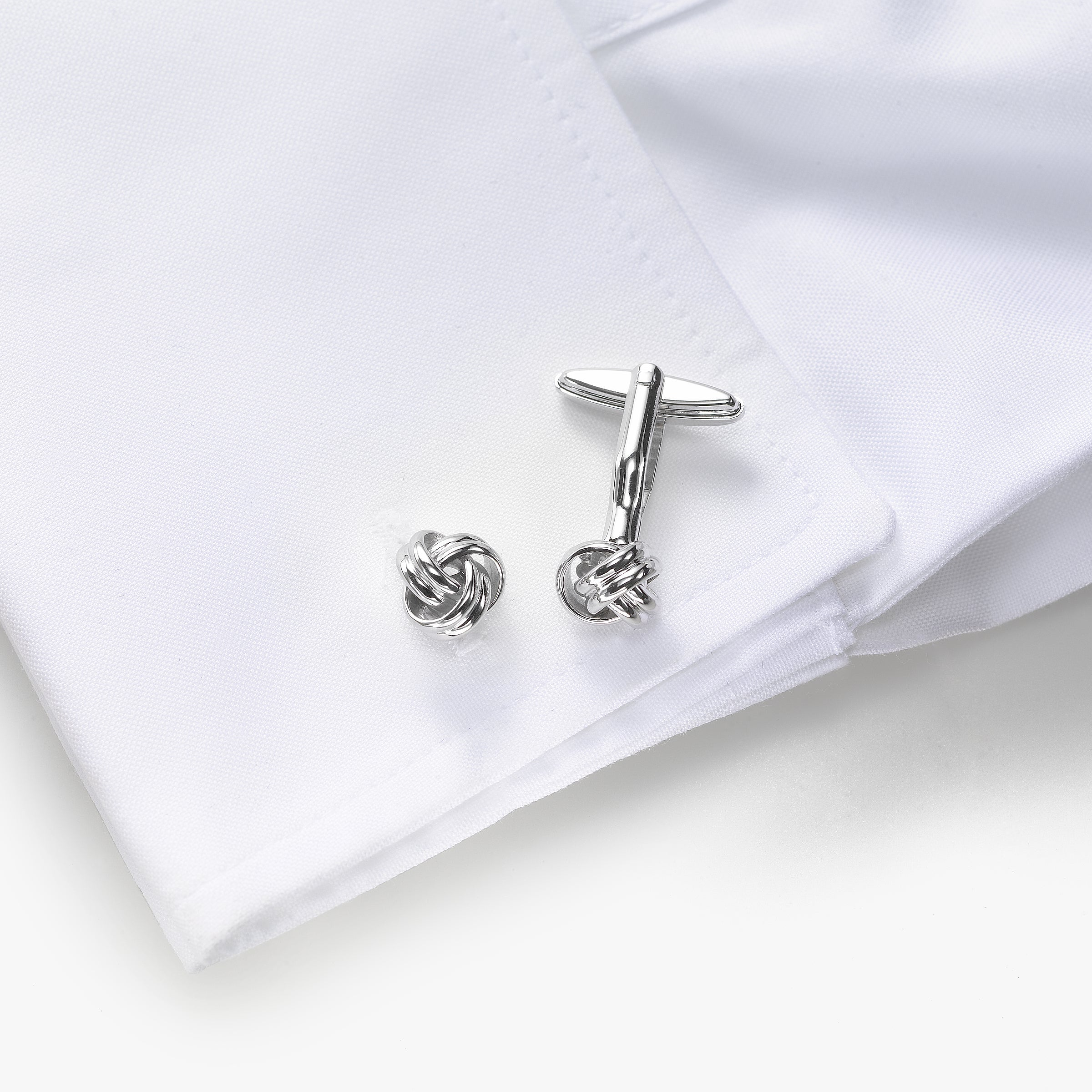 Knot Design Cuff Links, Sterling Silver, .40 Inch