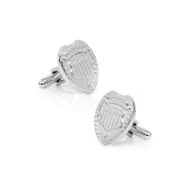Police Badge Cufflinks, Silver Tone