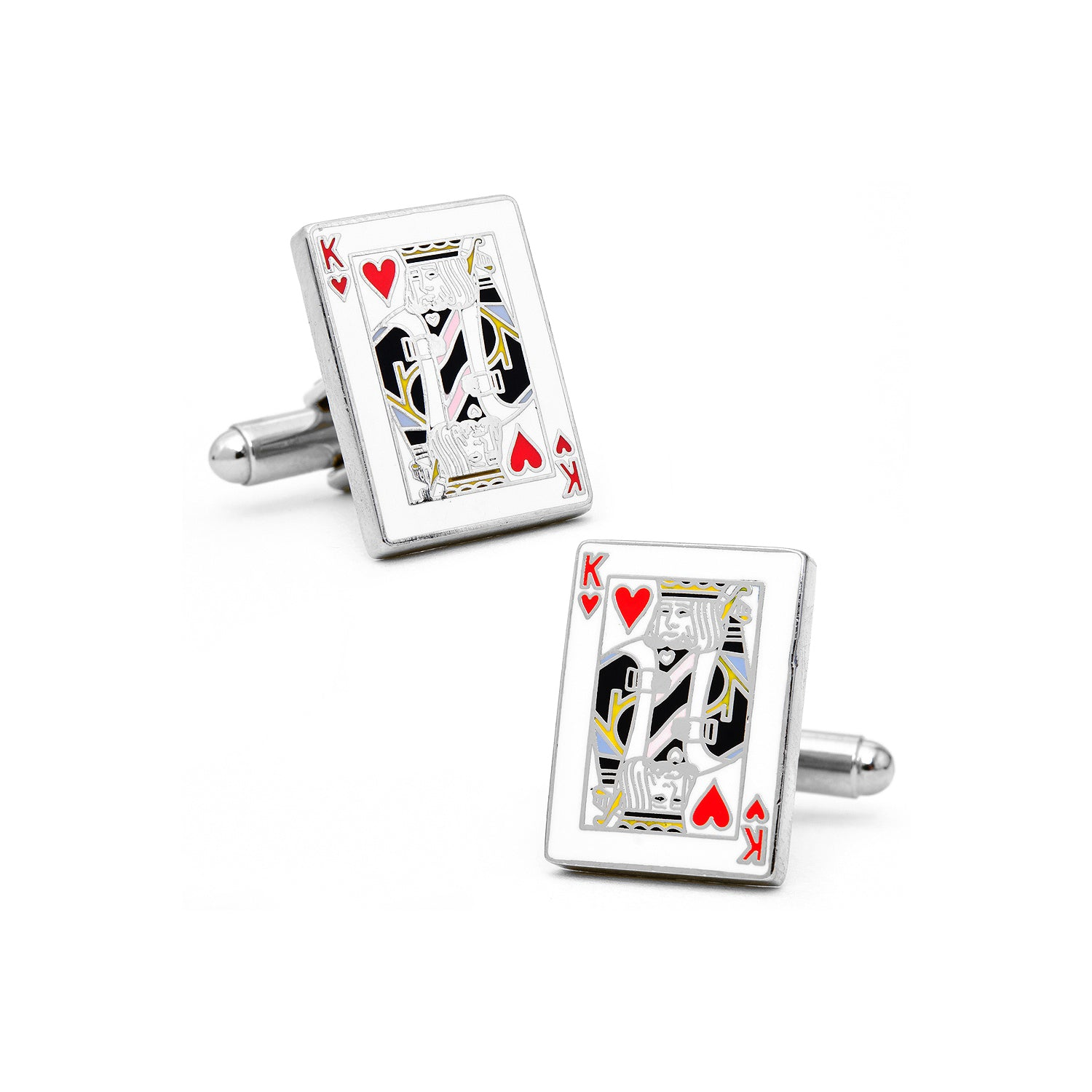 King Of Hearts Cufflinks, Nickel Plated Base Metal