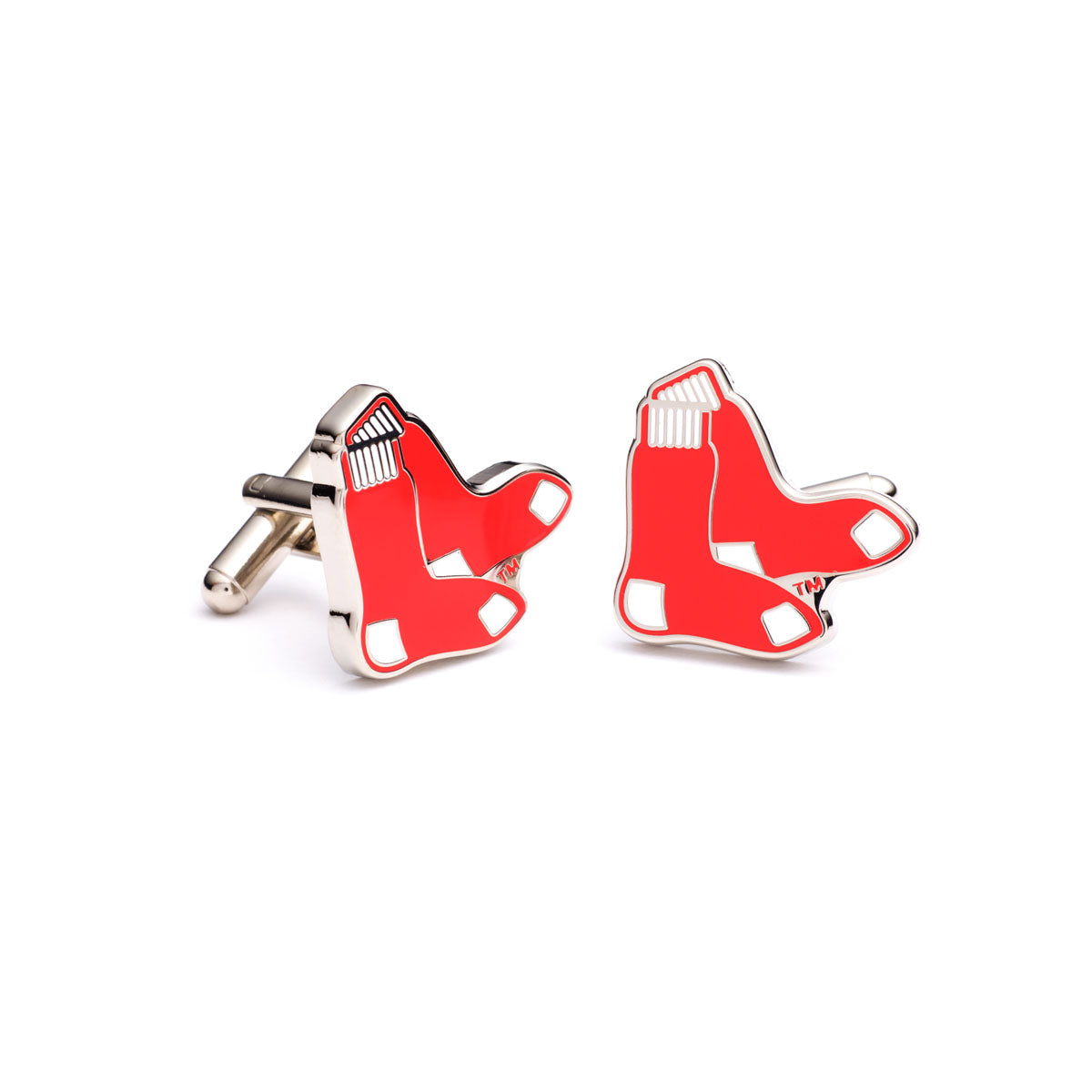 Red Sox Cufflinks, Enamel, Nickel with Silver Plating