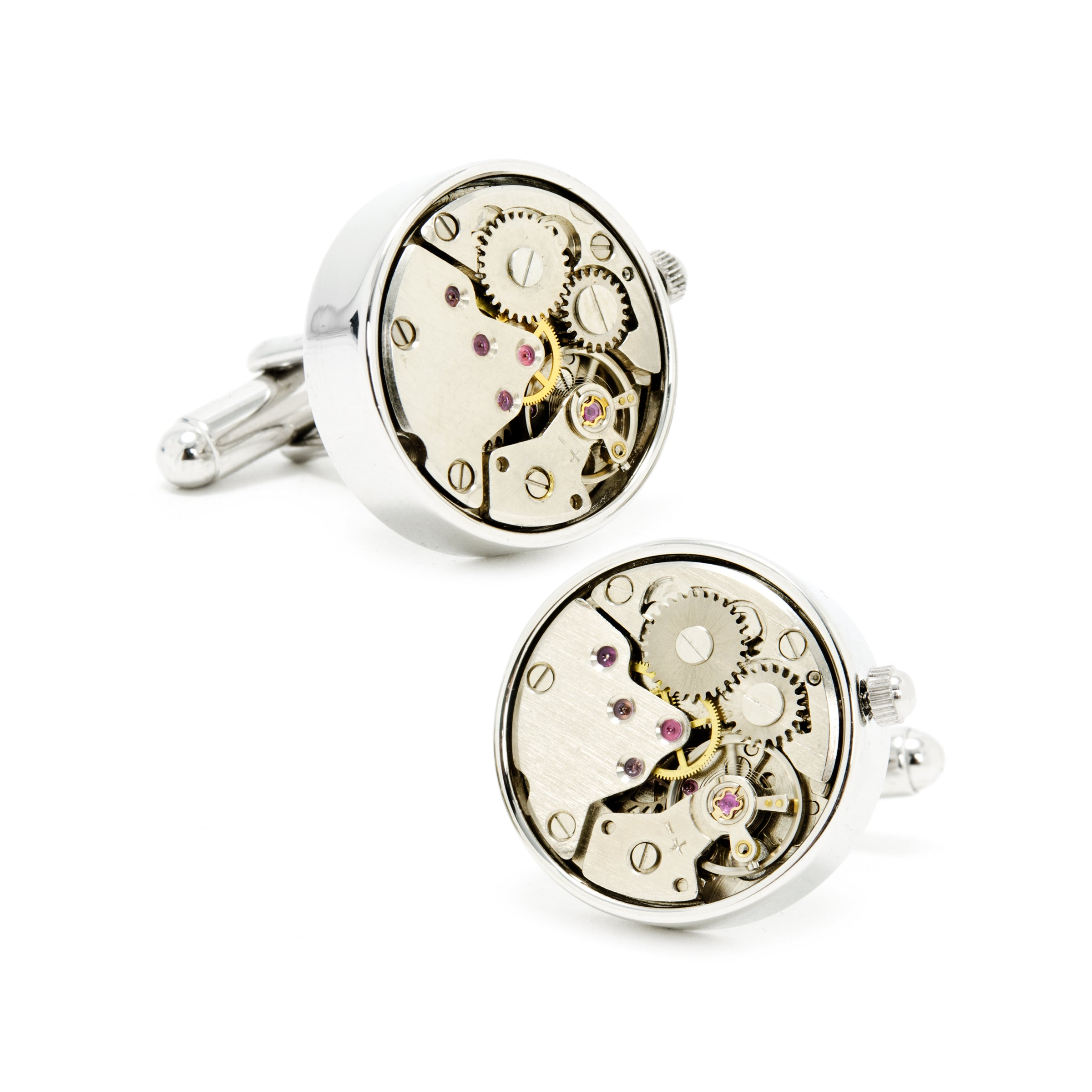 Watch Movement Cufflinks, Silver Plate