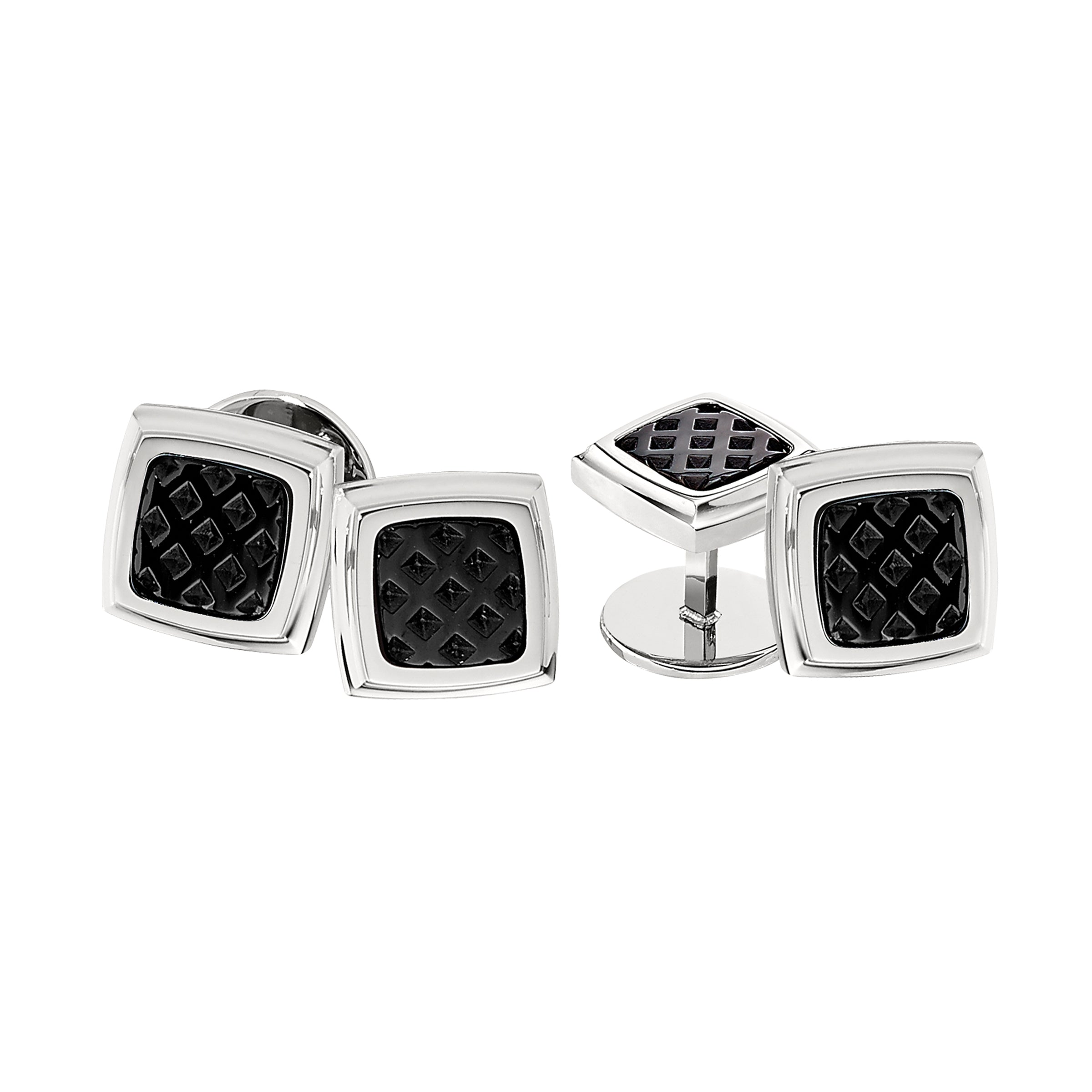 Black Textured Inlay 4 Piece Stud Set, Stainless Steel