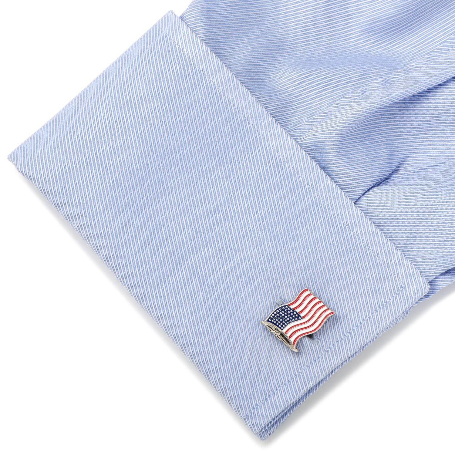 Waving American Flag Cufflinks, Base Metal