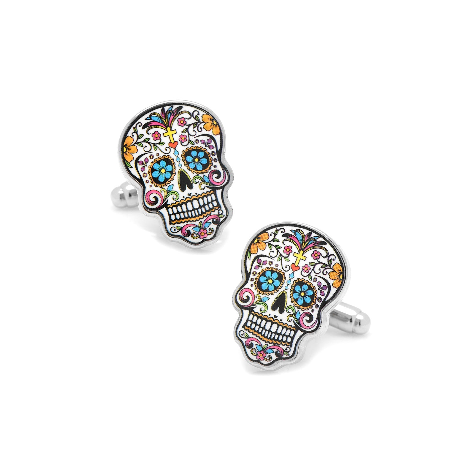 Day of the Dead Skull Cufflinks, Plated Base Metal