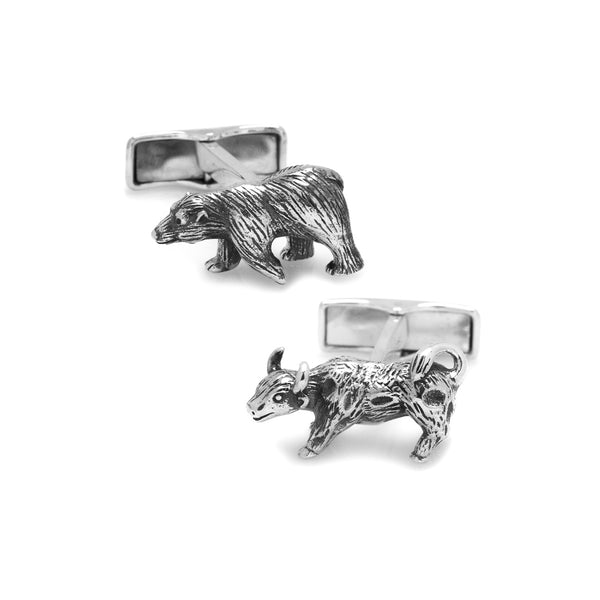 Bull and Bear Cufflinks, Sterling Silver