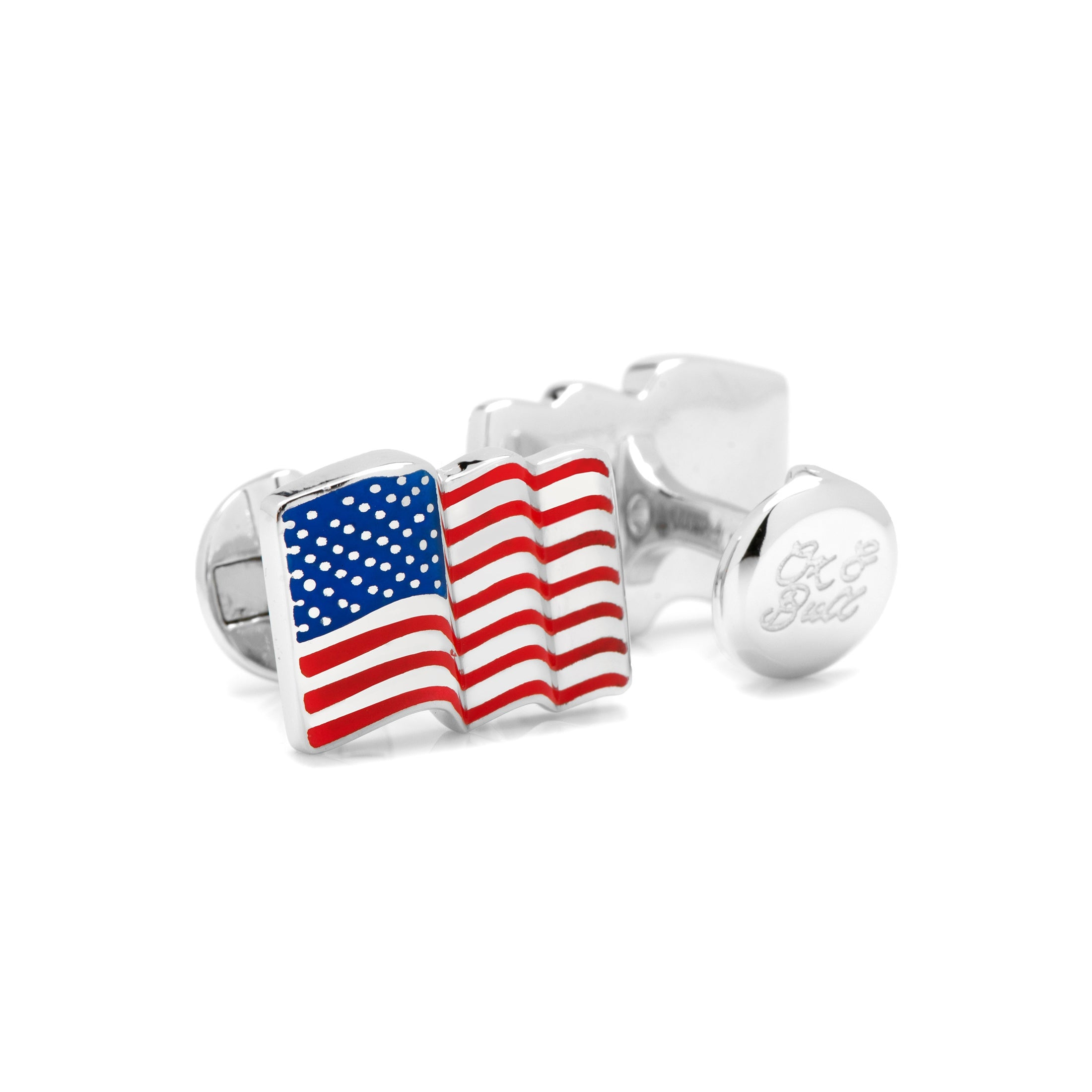 Waving American Flag Cufflinks, Sterling Silver