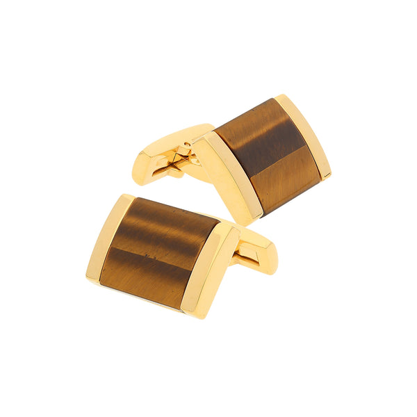 Tiger's Eye Cufflinks, Gold Tone Plated Stainless Steel