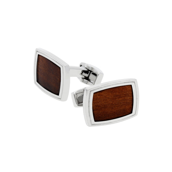 Willow Wood Inlay Cufflinks, Stainless Steel
