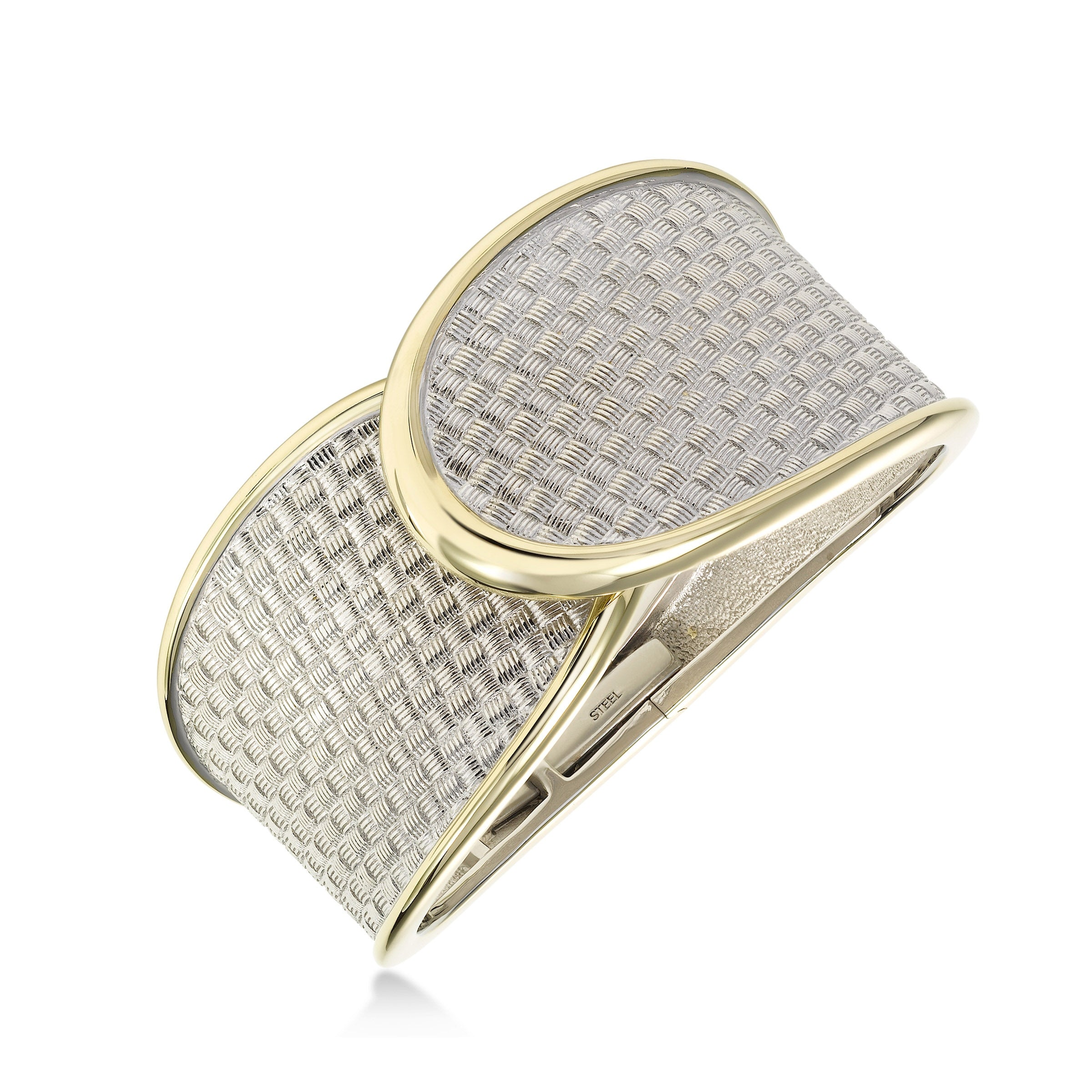 Weave Design Cuff Bracelet, Sterling Silver with Yellow Gold Plating
