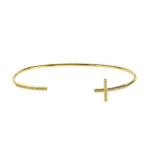 Gold Tone Open Cuff Bracelet with Cross, by Tai Design