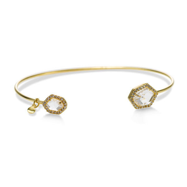 Hexagonal Clear Glass Cuff Bracelet with Cubic Zirconia