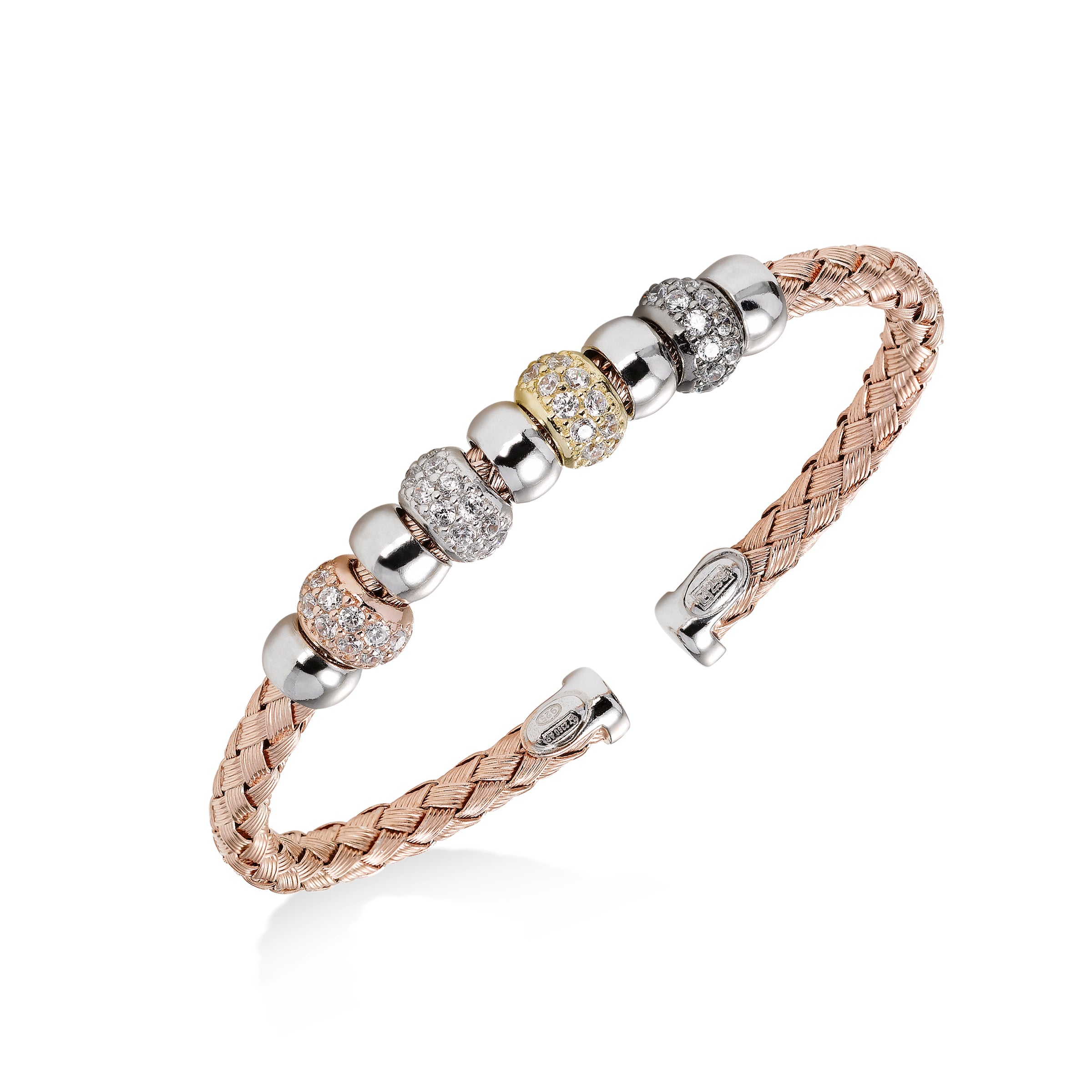 Woven Cuff with CZ Rondelles, Sterling and Rose Gold Plating