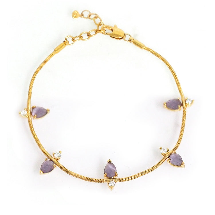 Gold Tone Snake Bracelet with Purple Colored Glass and Cubic Zirconia