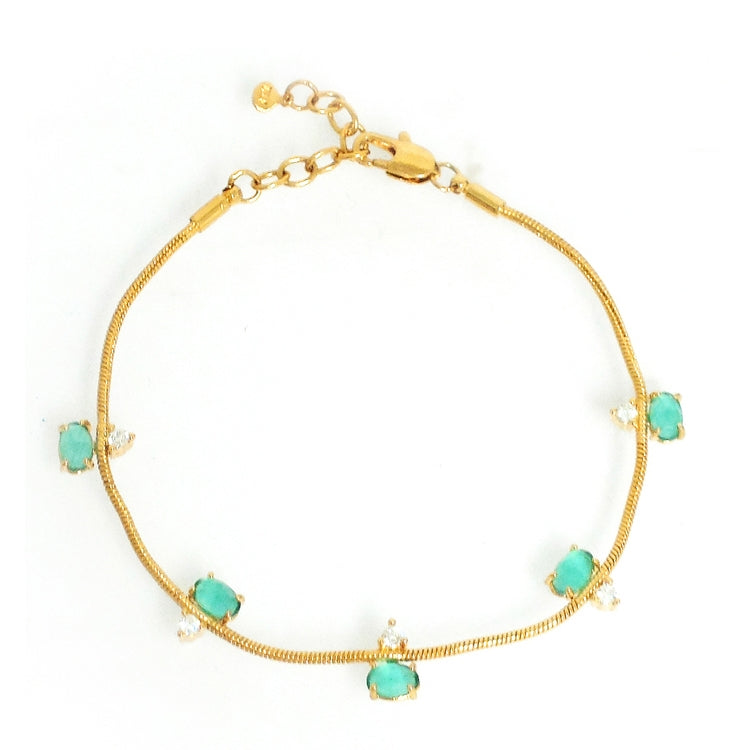 Gold Tone Snake Bracelet with Mint Colored Glass and Cubic Zirconia