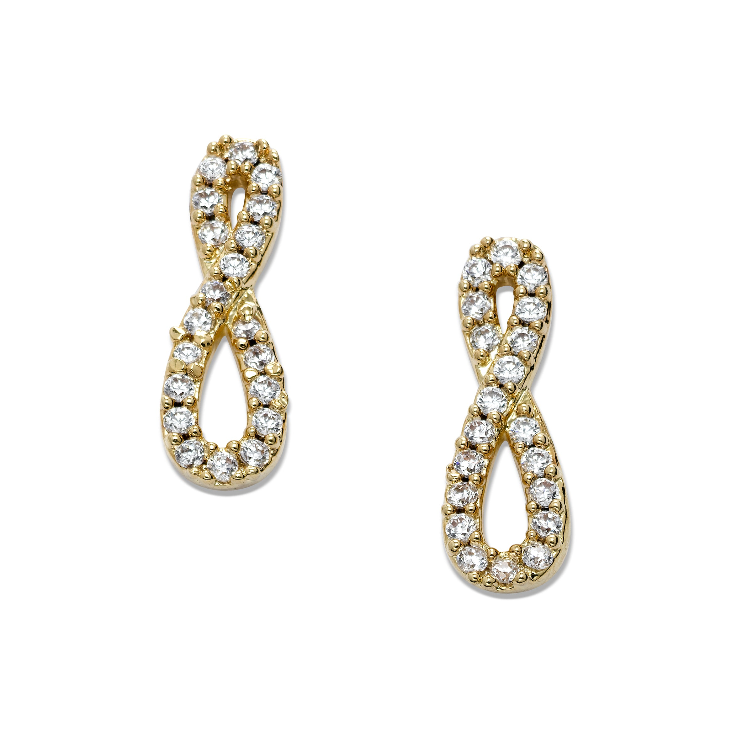 Clear Crystal Figure Eight Earrings, Gold Tone
