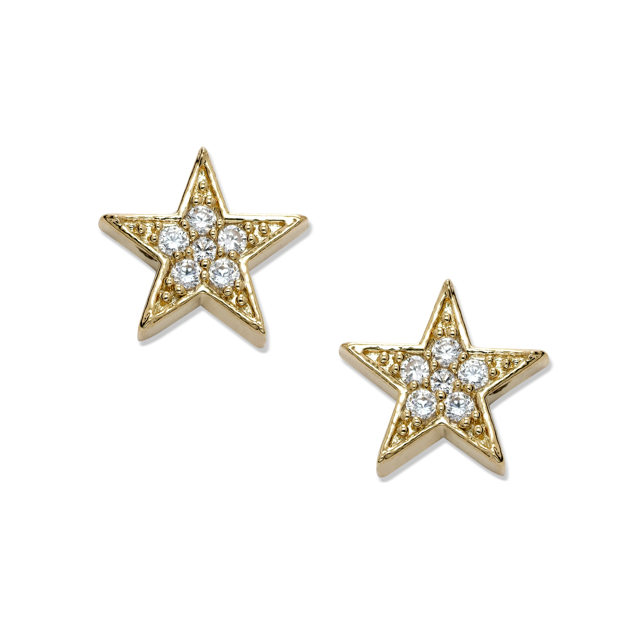 Clear Crystal Star Earrings, Gold Tone