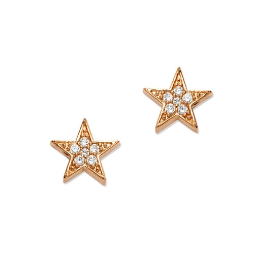 CZ Star Stud Earrings, Rose Gold Tone, by Tai Design
