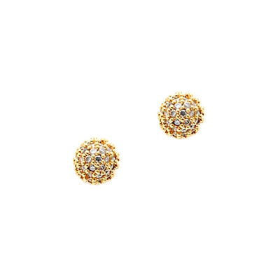 Mini CZ Ball Stud Earrings, Gold Tone, by Tai Design