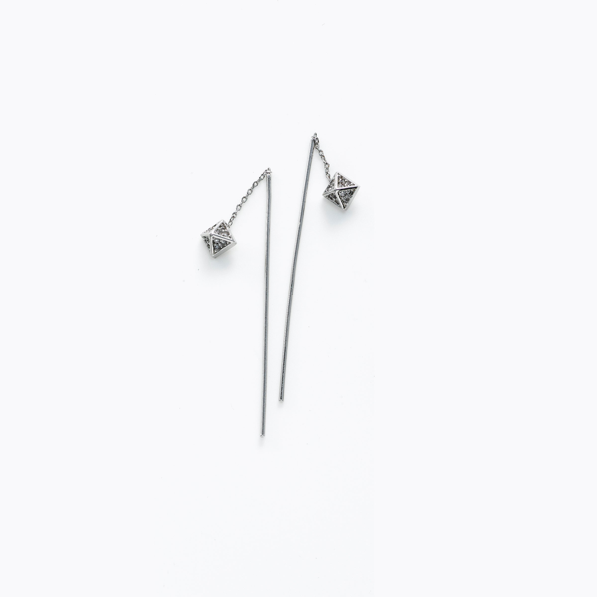 "Pyramid Dangle ""Threader"" Style Earrings, Silver Tone"