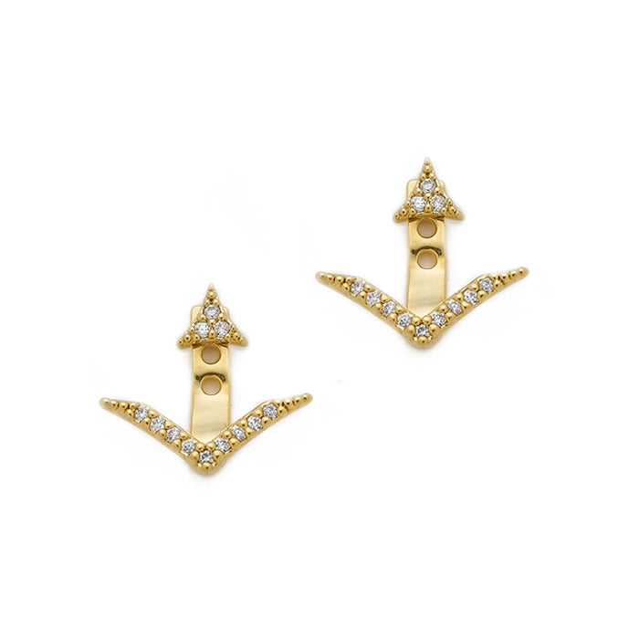 CZ Triangular Shaped Earring Jackets, Gold Tone, by Tai Design