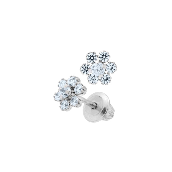 Child's Cubic Zirconia Flower Earrings, 14K White Gold