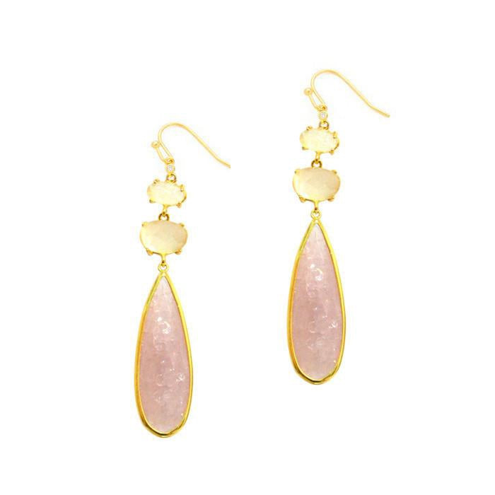 Pink and White Glass Drop Earrings, Gold Tone, by Tai Design