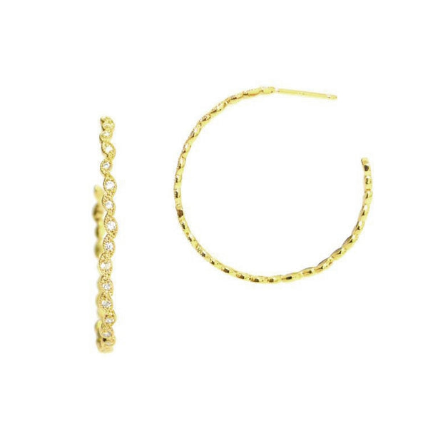 Hopsctoch CZ Open Hoop Earrings, Gold Tone, by Tai Design