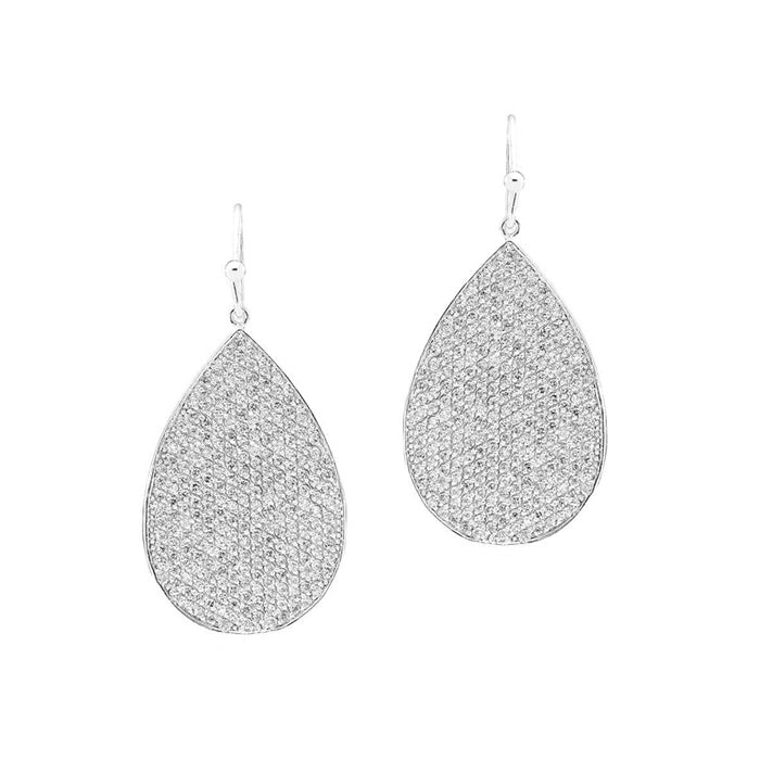 CZ Pear Shaped Drop Earrings, Silver Tone, by Tai Design
