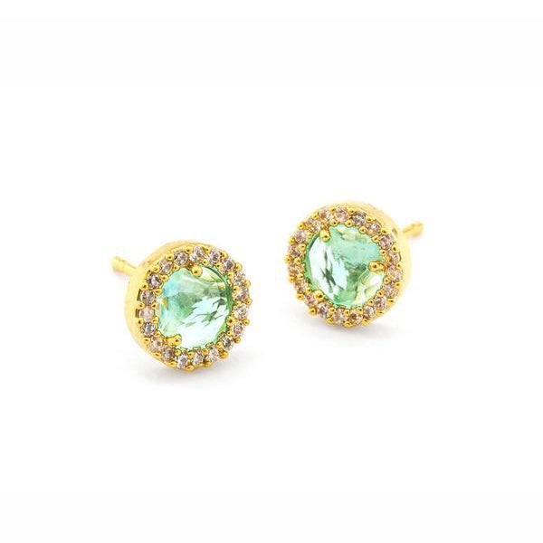 Bright Green Glass and CZ Stud Earrings, Gold Tone, by Tai Design