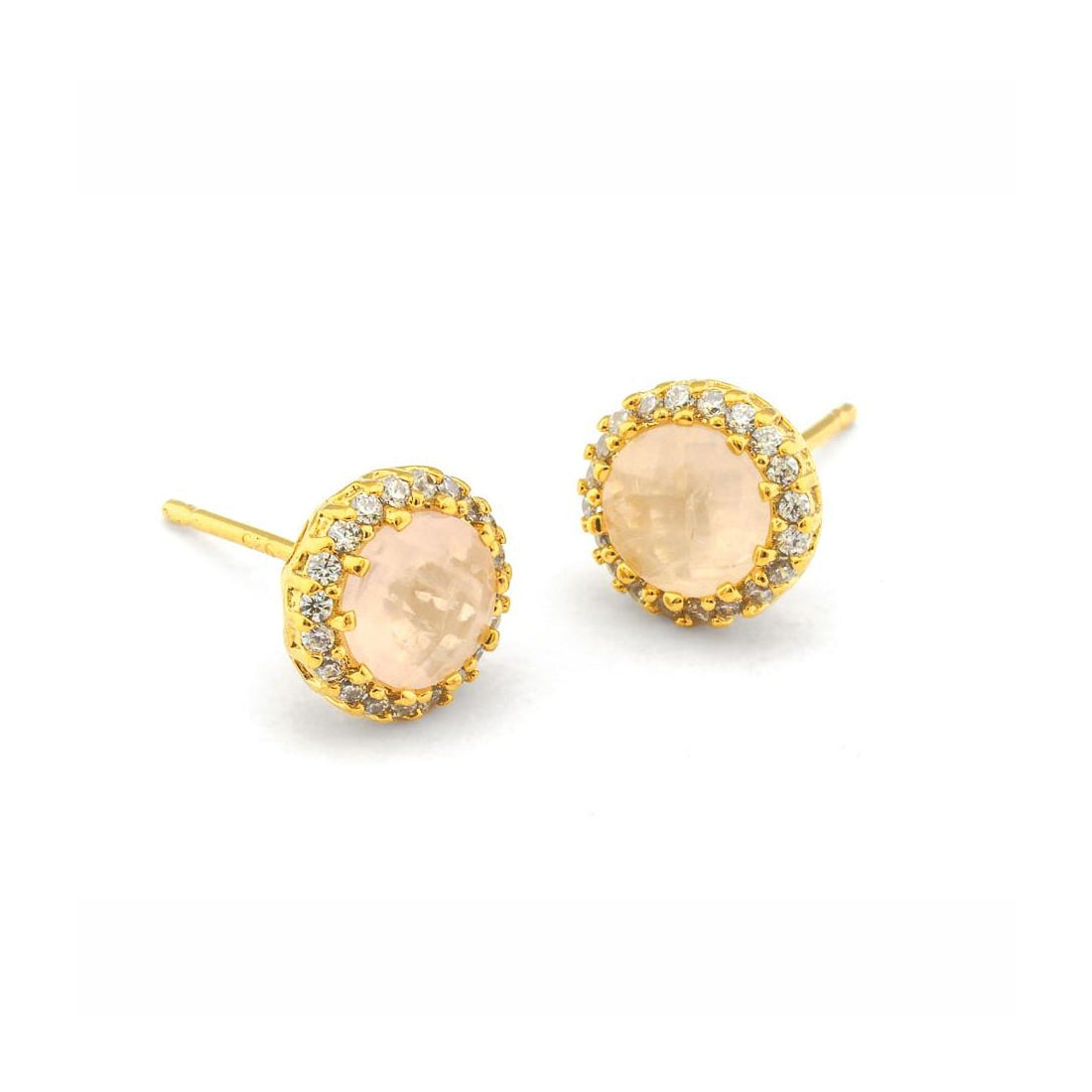 Moon Colored Glass and CZ Stud Earrings, Gold Tone, by Tai Design