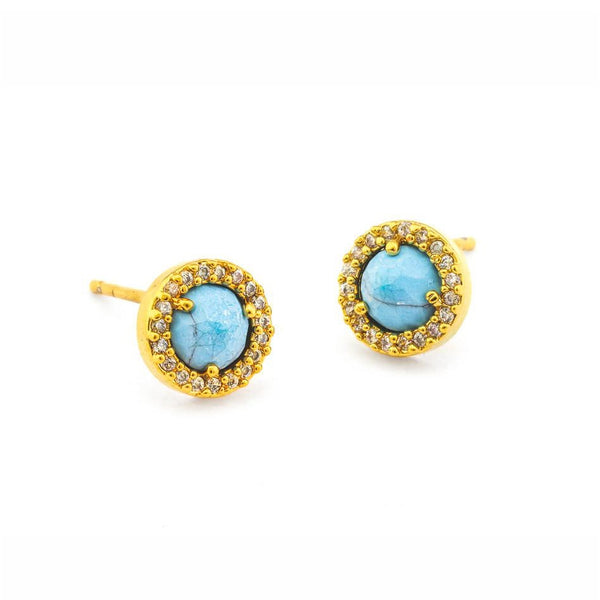 Turquoise Colored Glass and CZ Stud Earrings, Gold Tone, by Tai Design