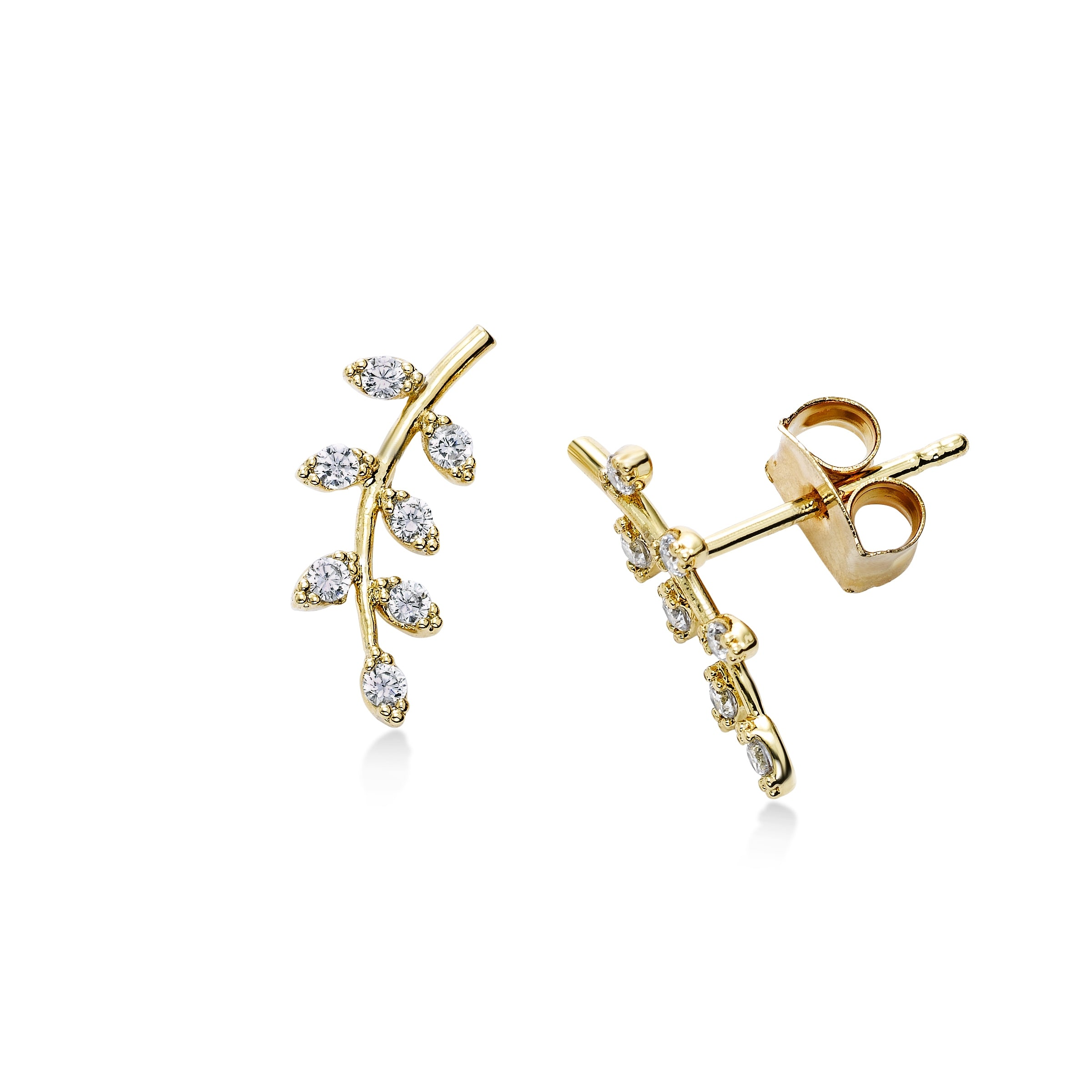 CZ Leaf Stud Earrings, Gold Tone, by Tai Design