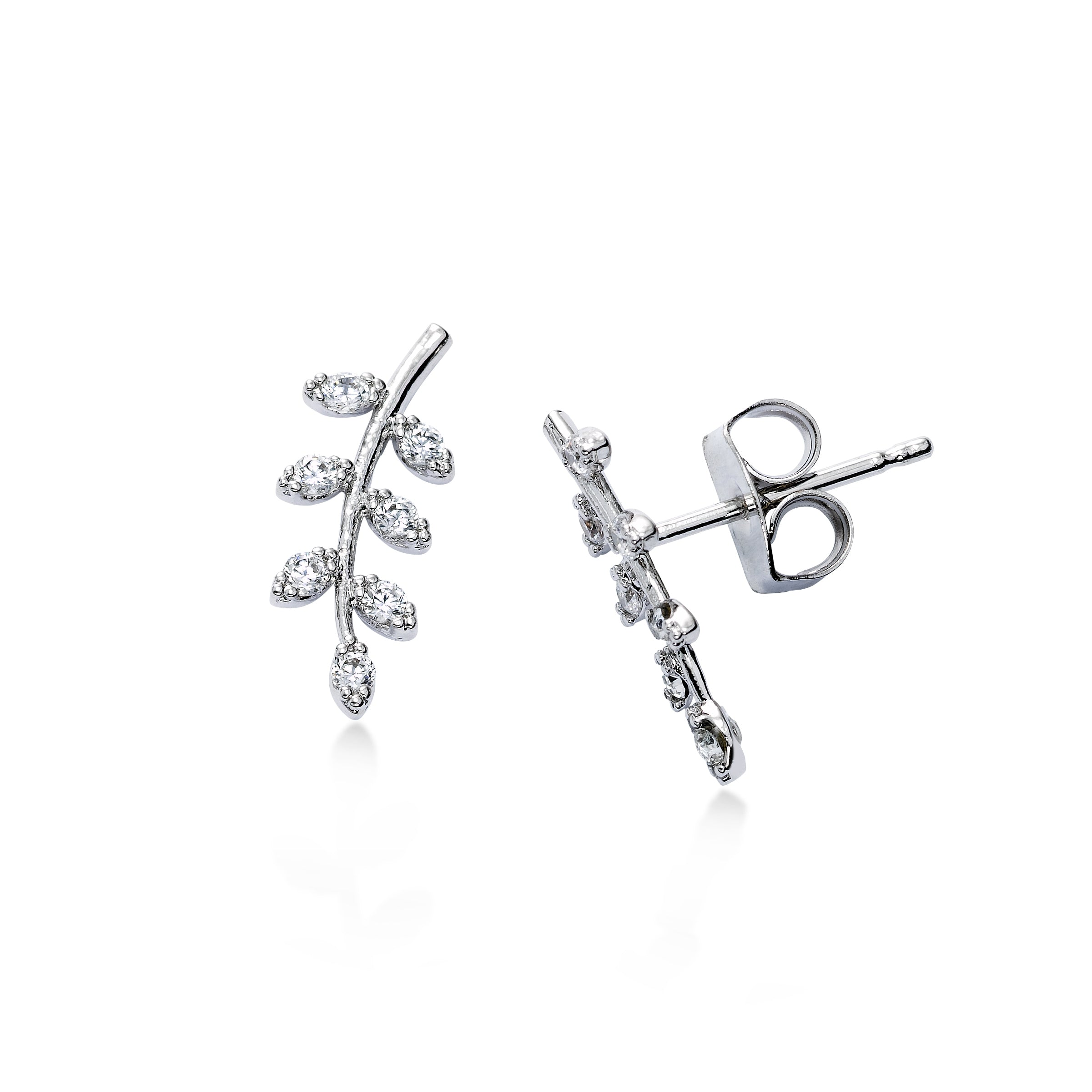 CZ Leaf Stud Earrings, Silver Tone, by Tai Design
