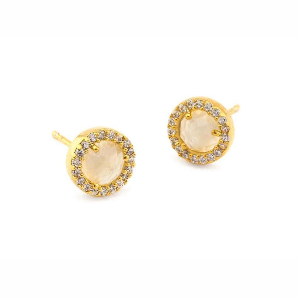 White Rock Crystal Stud Earrings, Gold Tone, by Tai Design