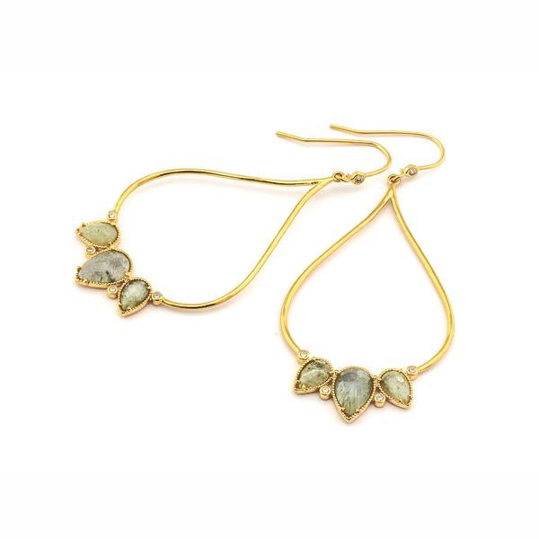 Three Stone Cluster Open Drop Earrings, Gold Tone, by Tai Design