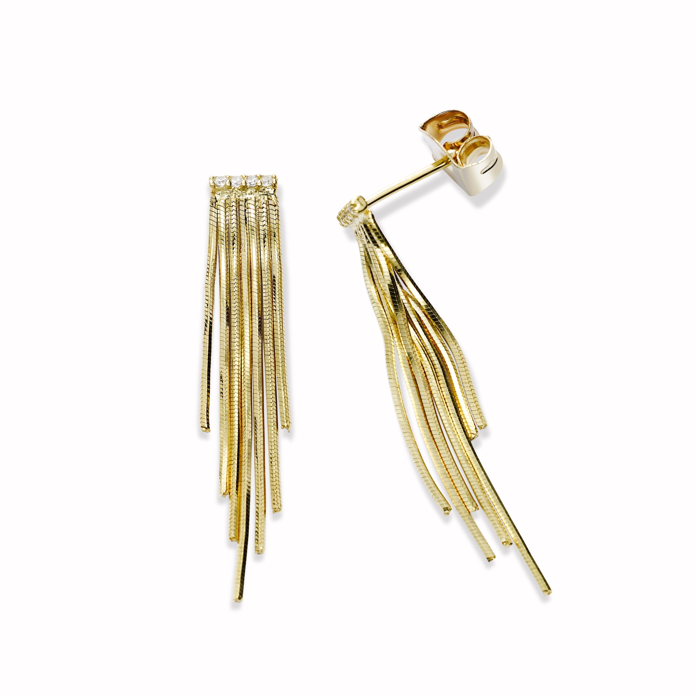 Tassel Earrings with CZ Accent, Gold Tone, by Tai Design