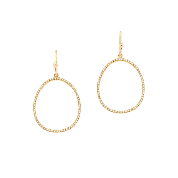 Large Open Oval CZ Drop Earrings, Gold Tone, by Tai Design