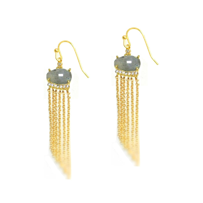 Tassel Style Earrings with Colored Glass, Gold Tone, by Tai Design