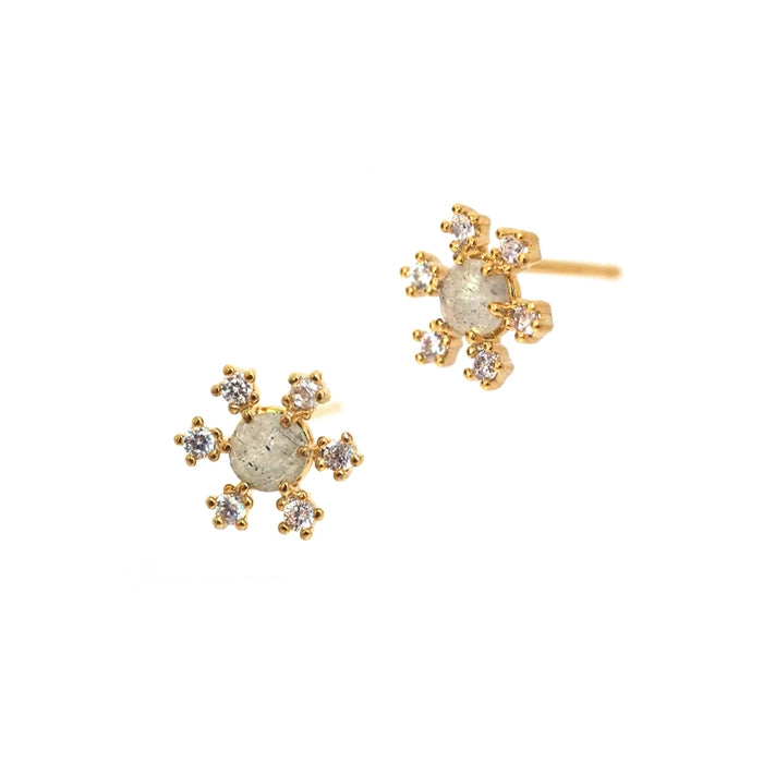 Open Star Cubic Zirconia Earrings, Gold Tone, by Tai Design