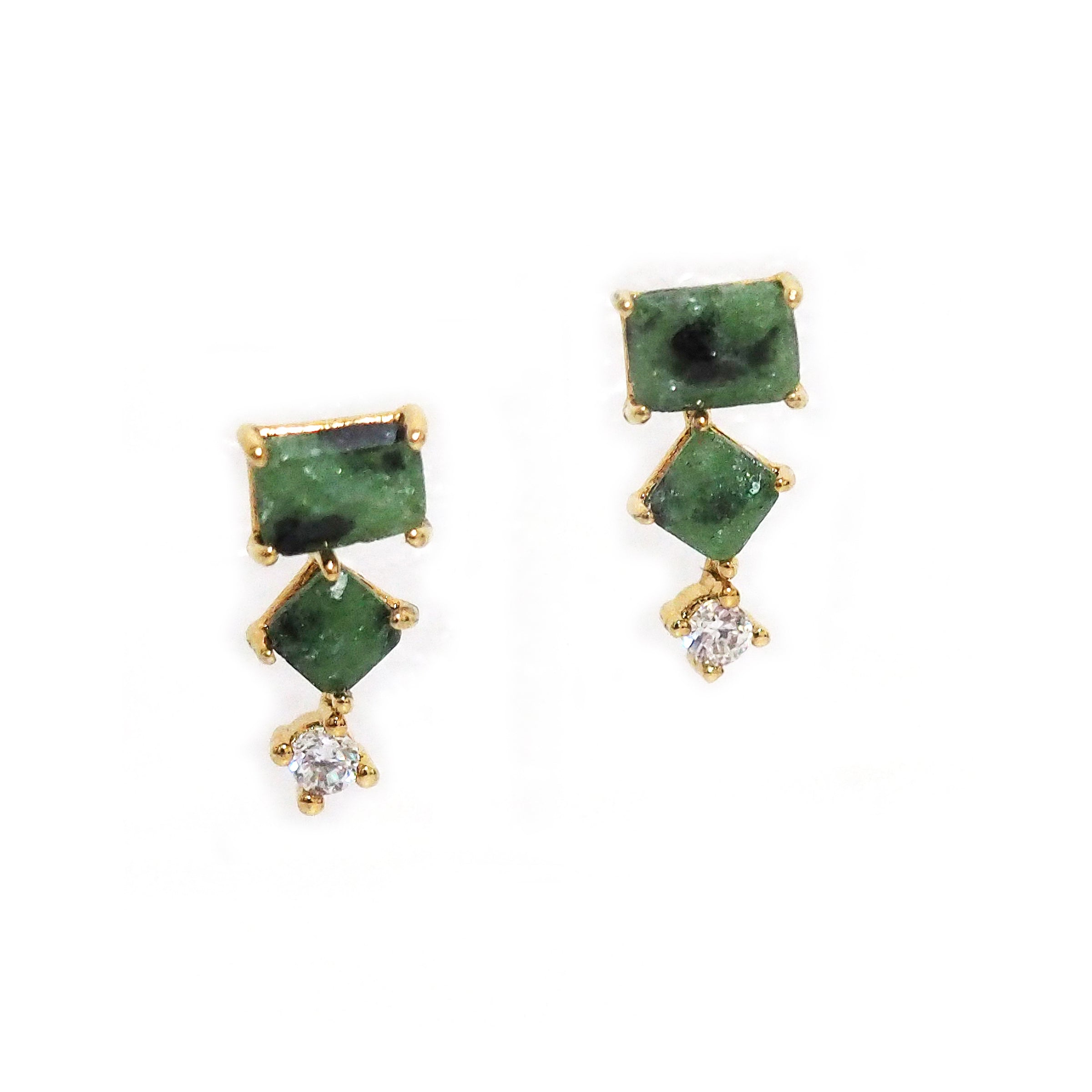 Green Glass and CZ Three Stone Earrings, Gold Tone, by Tai Design