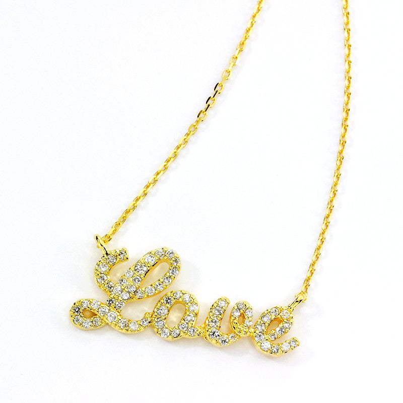 Yellow Tone CZ Love One Inch, Necklace by Tai