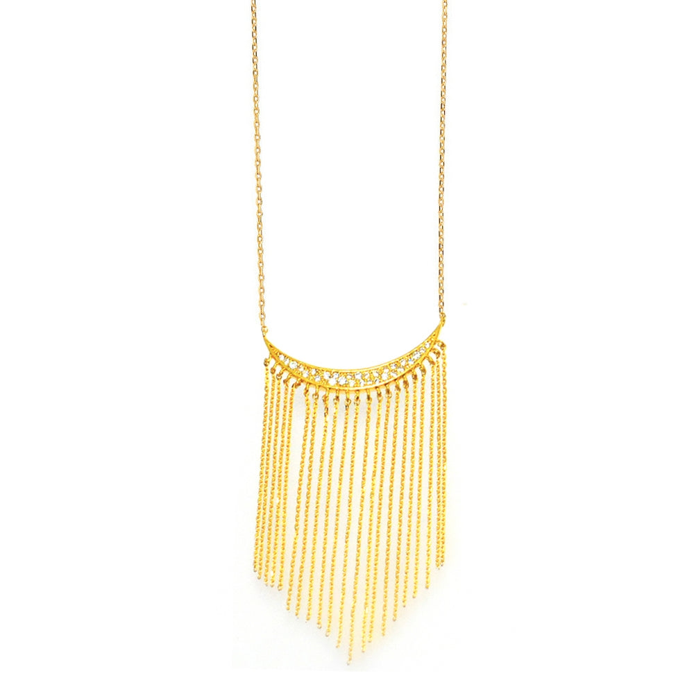 CZ Fringe Center Necklace, Gold Tone, by Tai Design
