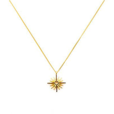 CZ Starburst Pendant, Gold Tone and Blackened, by Tai Design
