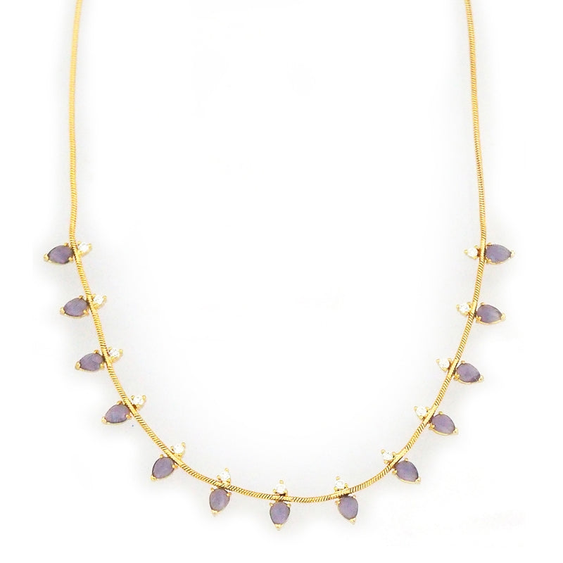 Gold Tone Snake Necklace with Purple Colored Glass and Cubic Zirconia